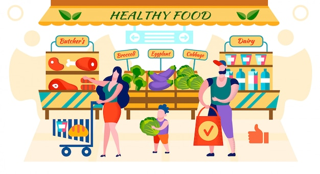 Happy family shopping fresh healthy food in market Premium Vector