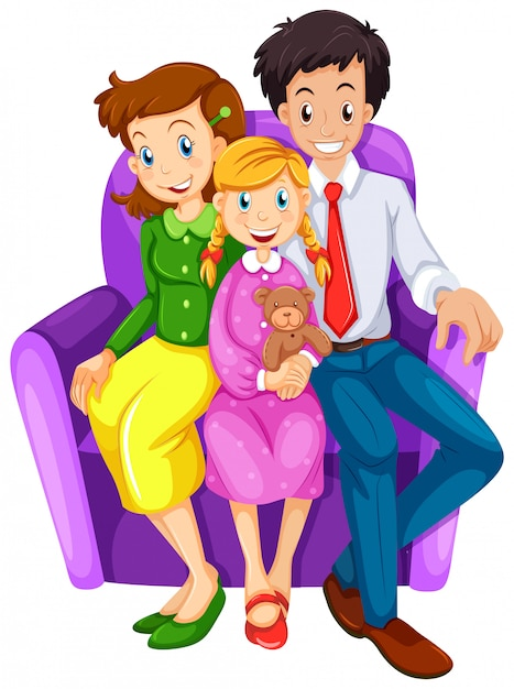 A happy family sitting on a couch Free Vector