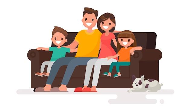 ソファのイラストに座っている幸せな家族 Premiumベクター