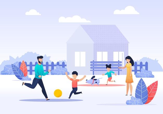 Premium Vector Happy Family Spending Time On Backyard Cartoon