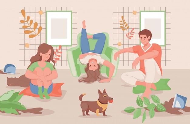 家や庭のフラットイラストで一緒に時間を過ごす幸せな家族。 Premiumベクター