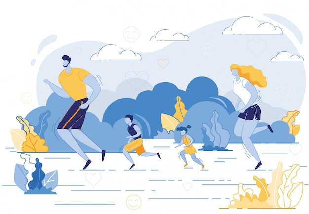 Happy family sport activity. mother, father, kids Premium Vector