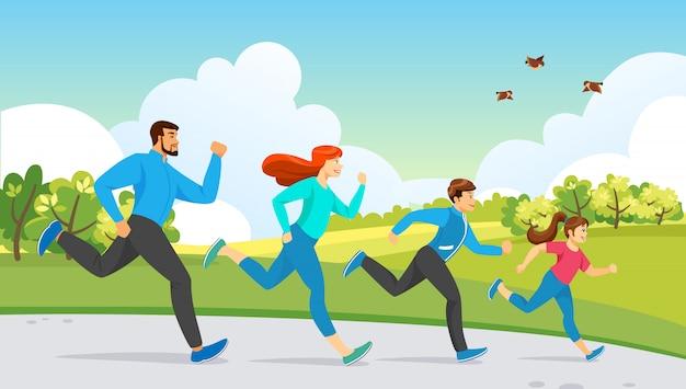 Happy family sport activity. running exercise Premium Vector