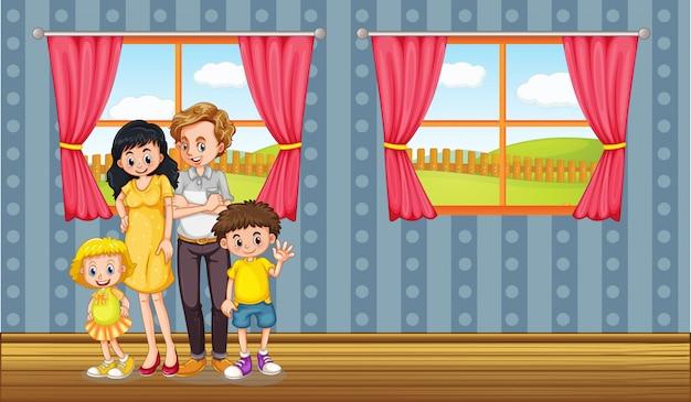 幸せな家族が家に滞在します。 無料ベクター