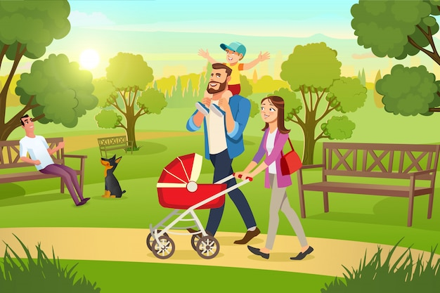 Happy family strolling with pram in park vector Premium Vector