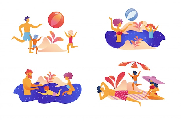 Happy family summer vacation set isolated Premium Vector
