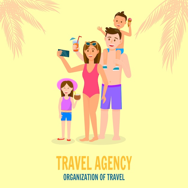 Happy family on summer vacation Premium Vector