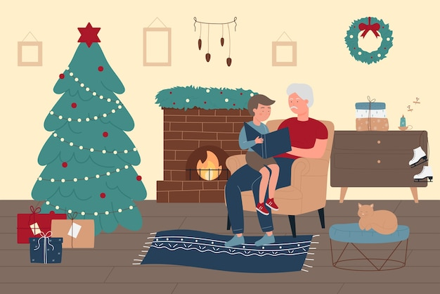 Happy family time at home in christmas winter holiday  illustration. Premium Vector