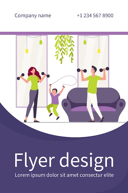 Happy family training together flat flyer template Free Vector