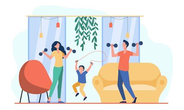 Happy family training together flat illustration. Free Vector