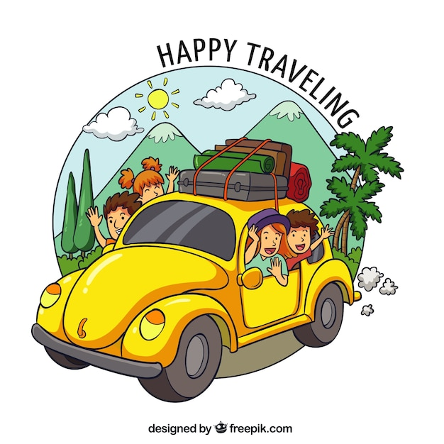 Happy family traveling in hand drawn style Free Vector