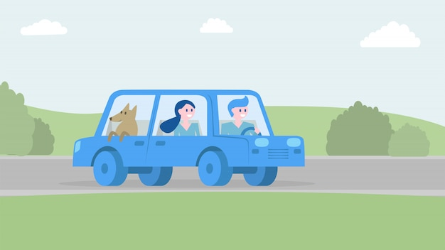 Happy family traveling together by car. Premium Vector