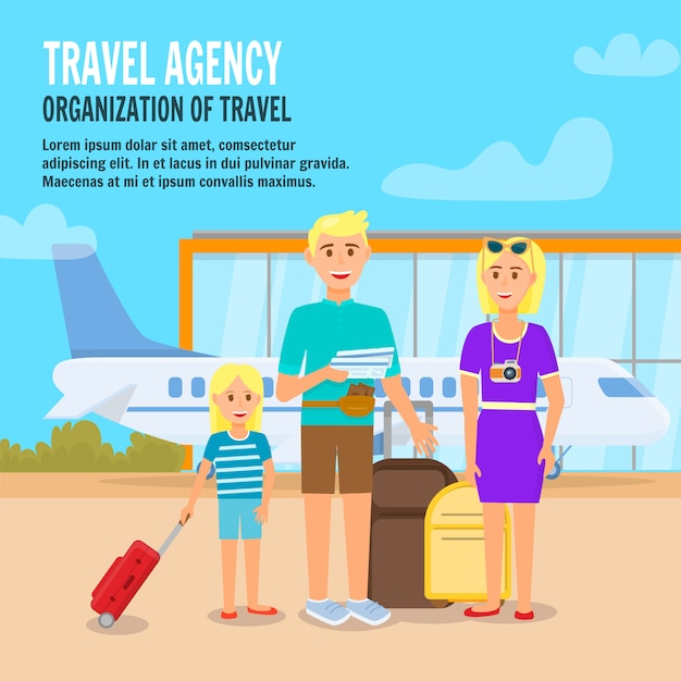 Happy family traveling together. Premium Vector