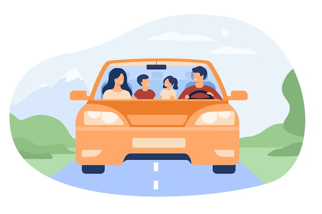 Happy family travelling in automobile isolated flat vector illustration. front view of cartoon father, mother, son and daughter in car. Free Vector