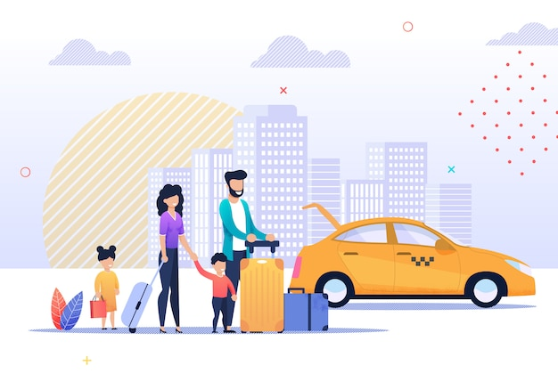 Happy family trip and taxi service illustration Premium Vector