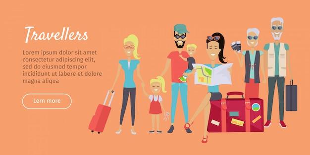 Happy family trip traveling banner Premium Vector