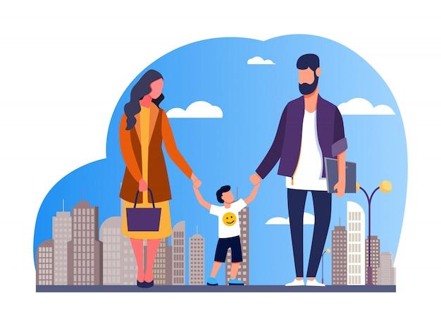 街を歩いて幸せな家族 無料ベクター