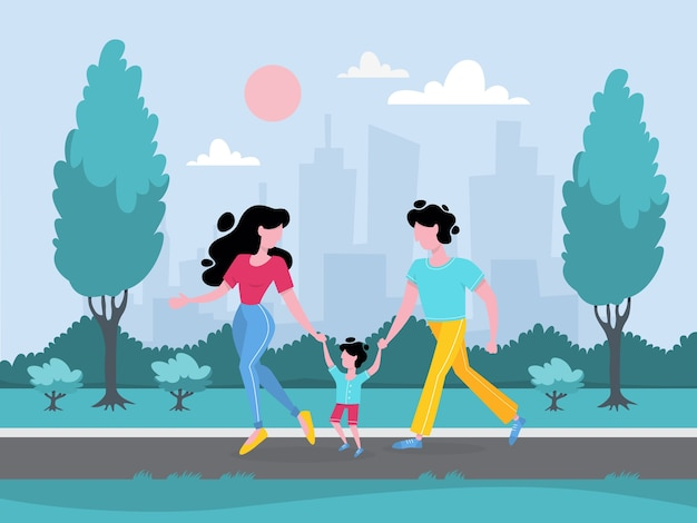 公園を歩いて幸せな家族。母 Premiumベクター