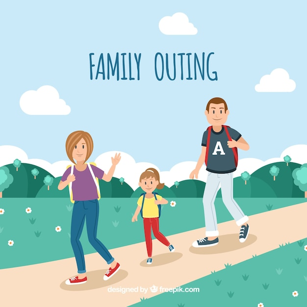 Happy family walking in the nature Free Vector