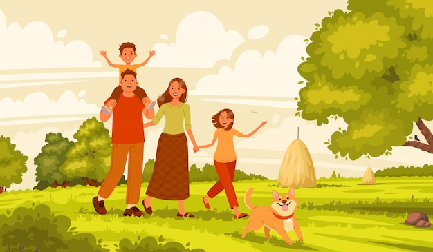 Premium Vector | Happy family walks in nature. mom, dad, daughter and son  are actively resting in the village. parents and children on the background  of the summer landscape