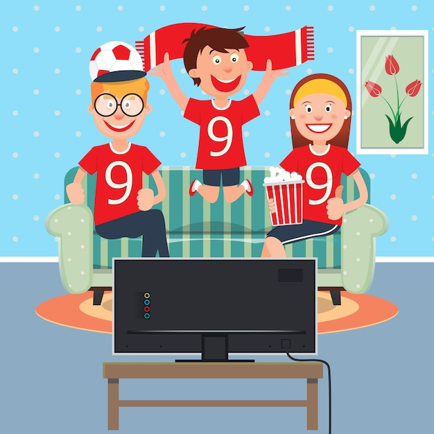 Happy family watching football together on tv. Premium Vector
