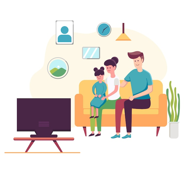 Happy family watching television sitting on the couch at home Premium Vector