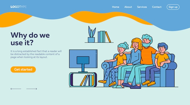 Happy family watching television together landing page template Free Vector