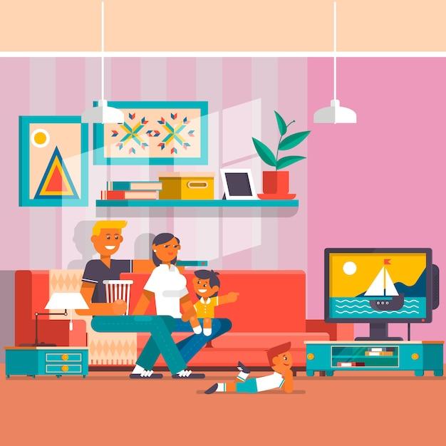 Happy family watching tv vector flat illustration Premium Vector