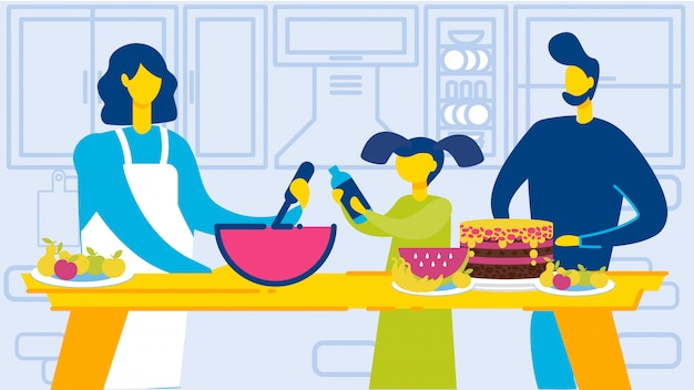 Happy family with child in kitchen room cooking Premium Vector