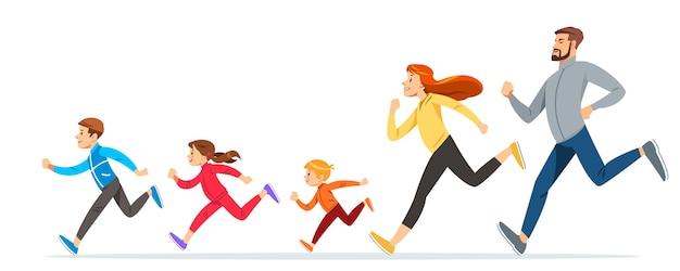 Счастливая семья с детьми, бегающими или бегающими трусцой для занятий спортом и улучшения физической формы летом Premium векторы