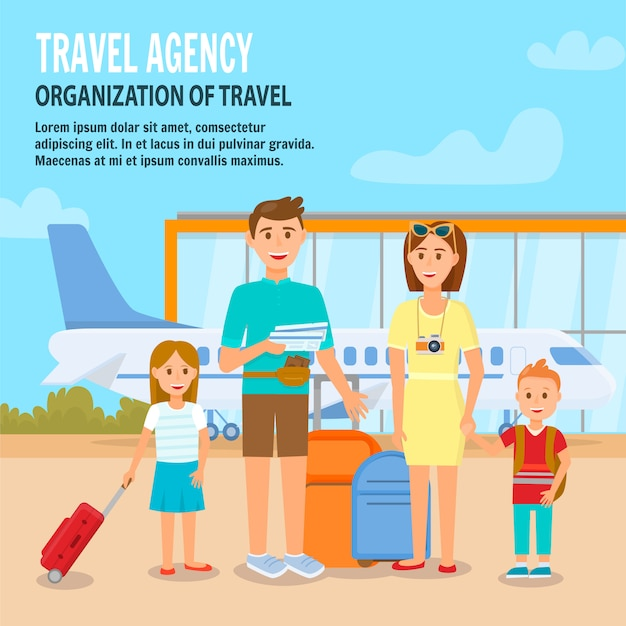 Happy family with children travelling with luggage Premium Vector
