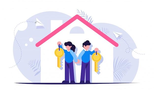 새 집 열쇠가있는 행복한 가족. 담보 대출 주제에 대한 그림 프리미엄 벡터