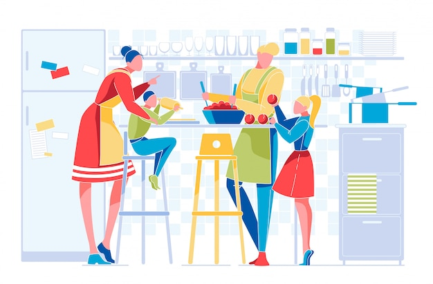 Happy family with kids everyday routine on kitchen Premium Vector