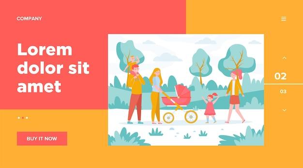 都市公園を歩いて子供たちと幸せな家族。両親は屋外の赤ちゃんと乳母車をホイーリングします。週末、レジャー、レクリエーション、ライフスタイルの概念のための平らなベクトルイラスト 無料ベクター