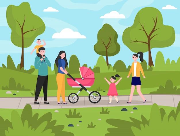 都市公園を歩いて子供たちと幸せな家族 無料ベクター