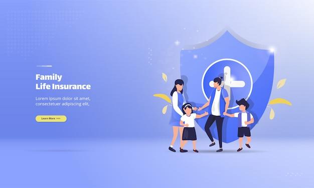 Счастливая семья с концепцией страхования жизни Premium векторы