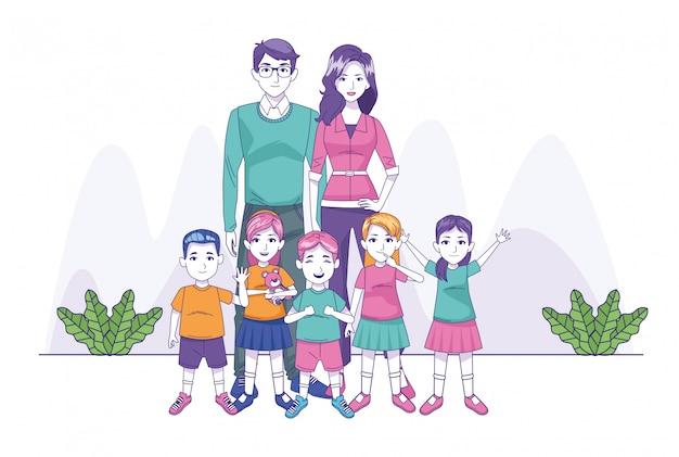 Happy family with little kids Premium Vector