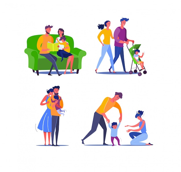 Happy family with one baby Free Vector