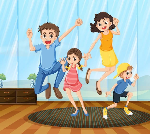 A happy family Free Vector