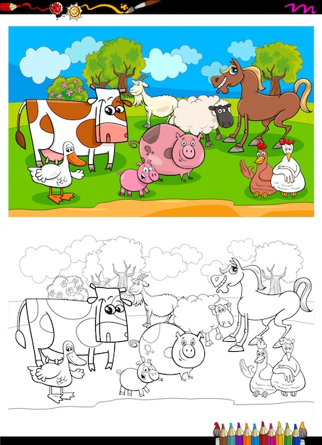 Happy farm animal characters group color book Premium Vector