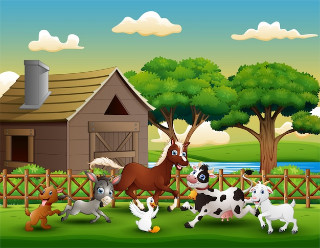 Happy farm animal playing outside the cage Premium Vector