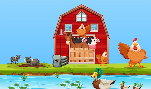 Happy farm animals scene Free Vector