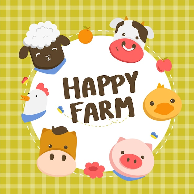 Happy farm cake decorated with faces of animals, sheep, chickens, pigs, ducks and cows. Free Vector