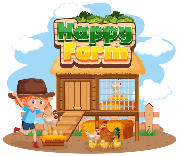 Happy farm with girl and chickens Premium Vector