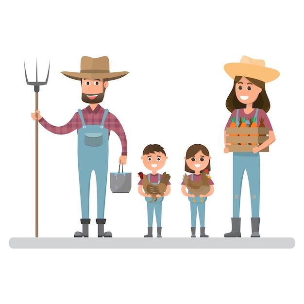 Happy Farmer Family Cartoon Character In Organic Rural Farm Premium Vector