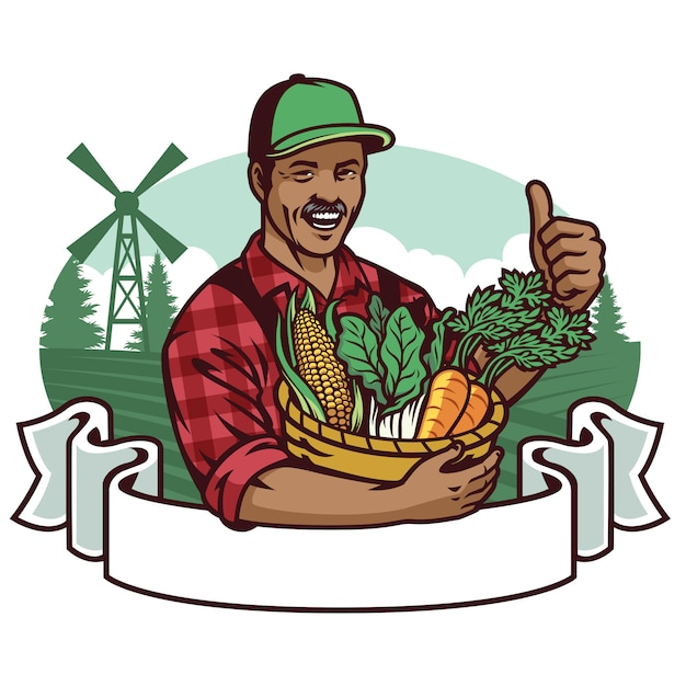Happy farmer show his vegetables Premium Vector
