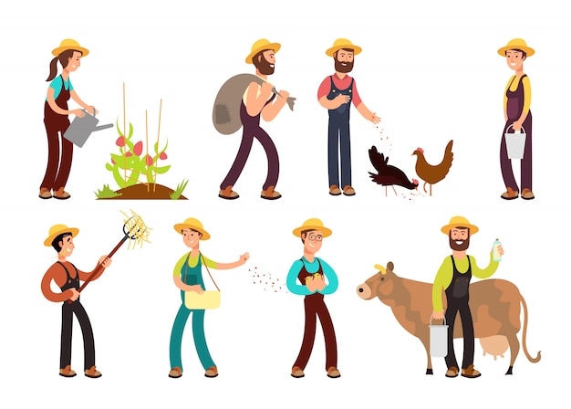 Happy farmers with agricultural tools and planting vector characters set Premium Vector