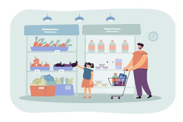 幸せな父と娘がスーパーマーケットのフラットイラストで食べ物を買う。漫画イラスト 無料ベクター