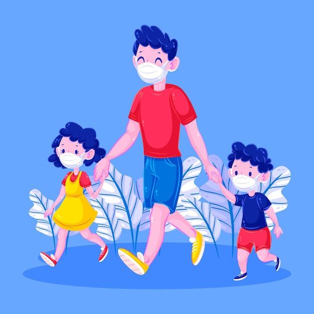 Felice padre e figli a piedi Vettore gratuito