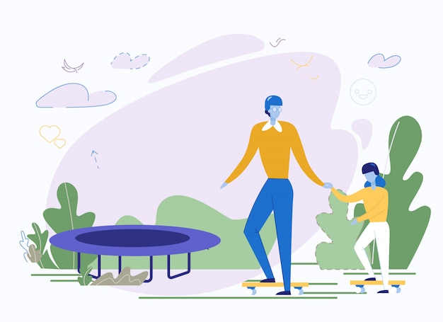 Happy father and daughter doing sport in park Premium Vector